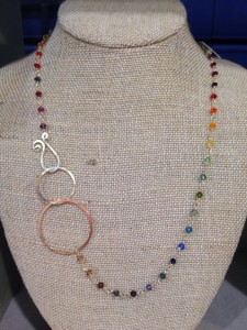 Rainbow Swarovski Crystal Handmade Chain and Hoops