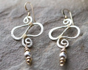 Two tone squiggle earrings